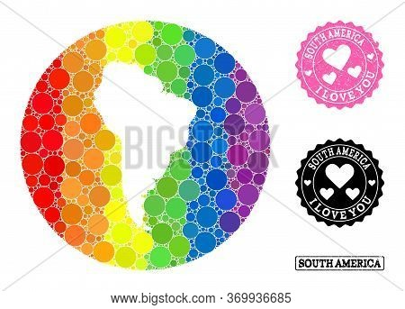 Vector Mosaic Lgbt Map Of South America From Circle Items, And Love Scratched Seal Stamp. Stencil Ro