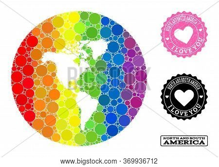 Vector Mosaic Lgbt Map Of South And North America With Spheric Elements, And Love Scratched Stamp. H
