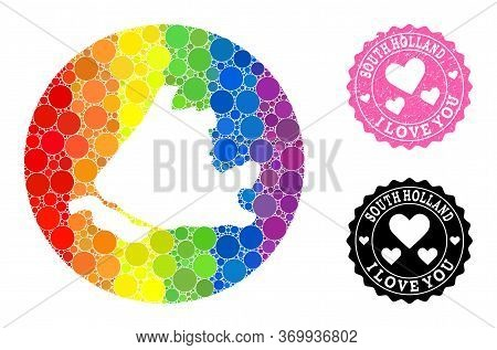 Vector Mosaic Lgbt Map Of South Holland With Spheric Dots, And Love Watermark Seal Stamp. Hole Round