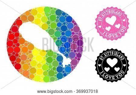 Vector Mosaic Lgbt Map Of St Kitts Island Of Round Spots, And Love Rubber Stamp. Subtraction Round M
