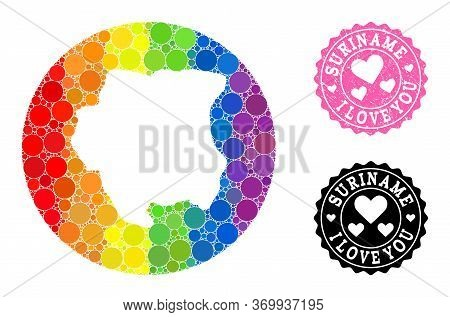 Vector Mosaic Lgbt Map Of Suriname With Circle Spots, And Love Grunge Seal. Stencil Round Map Of Sur