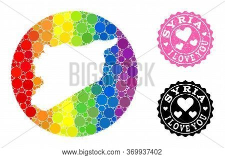 Vector Mosaic Lgbt Map Of Syria With Round Dots, And Love Scratched Seal Stamp. Hole Circle Map Of S