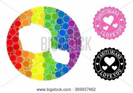 Vector Mosaic Lgbt Map Of Tahiti Island With Round Elements, And Love Watermark Stamp. Subtraction R