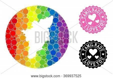Vector Mosaic Lgbt Map Of Tamil Nadu State With Circle Elements, And Love Watermark Seal Stamp. Subt