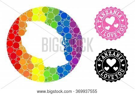 Vector Mosaic Lgbt Map Of Tanzania With Circle Items, And Love Scratched Stamp. Hole Round Map Of Ta