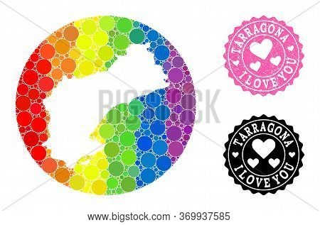 Vector Mosaic Lgbt Map Of Tarragona Province With Round Blots, And Love Rubber Stamp. Subtraction Ro