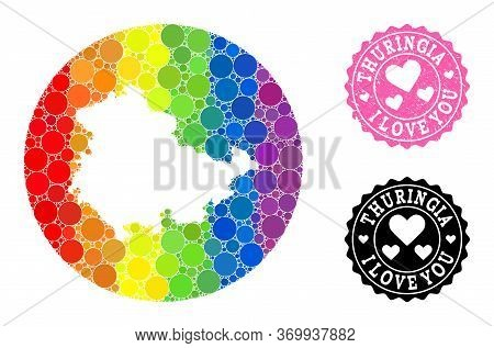 Vector Mosaic Lgbt Map Of Thuringia State From Circle Items, And Love Rubber Seal. Stencil Circle Ma