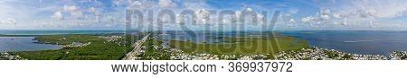 Beautiful Wide Panorama Of Key Largo Florida Overseas Highway