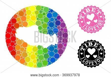 Vector Mosaic Lgbt Map Of Tibet With Round Dots, And Love Watermark Seal. Subtraction Round Map Of T