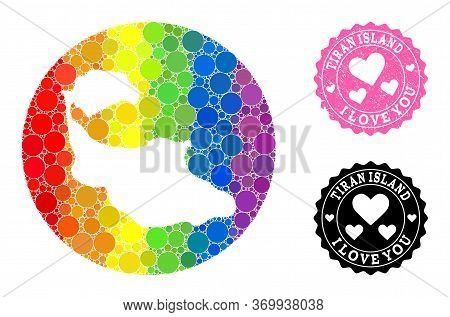 Vector Mosaic Lgbt Map Of Tiran Island With Spheric Items, And Love Rubber Seal. Subtraction Circle