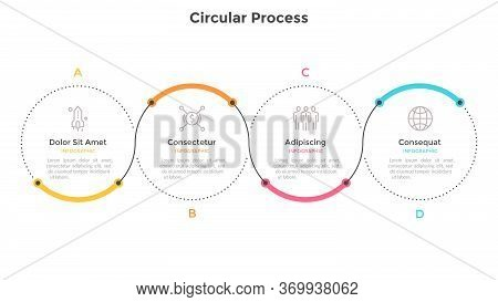 Horizontal Chart With Four Circular Elements And Colorful Curve Line. Concept Of 4 Successive Steps