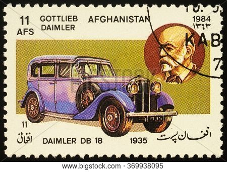 Moscow, Russia - June 01, 2020: Stamp Printed In Afghanistan Shows Gottlieb Wilhelm Daimler (1834-19