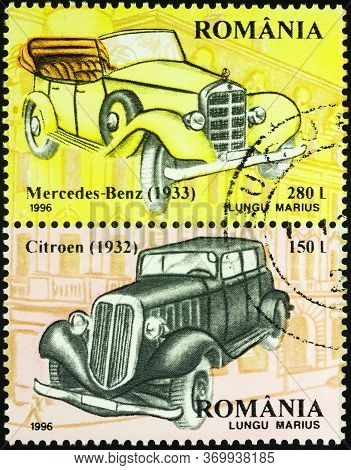 Moscow, Russia - June 05, 2020: Stamp Printed In Romania Shows Vintage Cars Mercedes-benz (1933), An
