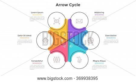 Circular Cyclic Chart Divided Into 6 Colorful Sectors. Concept Of Six Steps Or Stages Of Business Cy