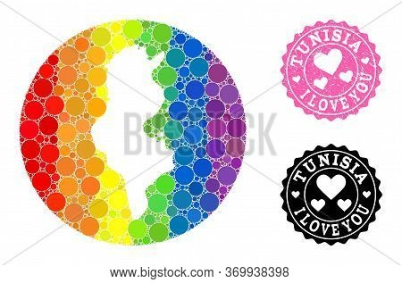 Vector Mosaic Lgbt Map Of Tunisia With Spheric Items, And Love Scratched Seal. Subtraction Round Map
