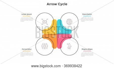 Circular Cyclic Chart Divided Into 4 Colorful Sectors. Concept Of Four Steps Or Stages Of Business C