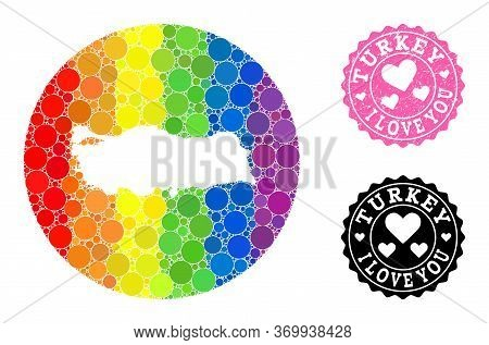 Vector Mosaic Lgbt Map Of Turkey With Spheric Items, And Love Watermark Stamp. Hole Circle Map Of Tu
