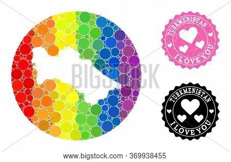 Vector Mosaic Lgbt Map Of Turkmenistan With Round Dots, And Love Watermark Seal. Stencil Round Map O