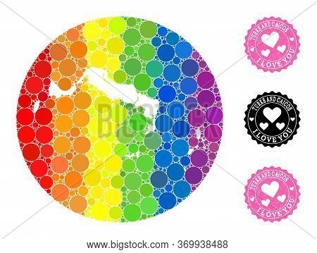 Vector Mosaic Lgbt Map Of Turks And Caicos Islands Of Round Spots, And Love Grunge Seal. Stencil Rou