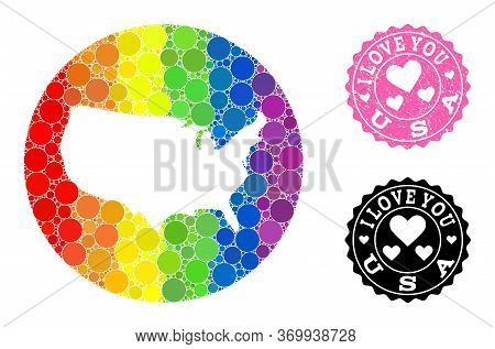 Vector Mosaic Lgbt Map Of Usa With Round Spots, And Love Rubber Seal. Hole Round Map Of Usa Collage
