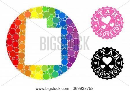Vector Mosaic Lgbt Map Of Utah State With Round Spots, And Love Rubber Seal Stamp. Hole Round Map Of
