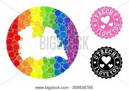 Vector Mosaic Lgbt Map Of Utrecht Province With Circle Blots, And Love Grunge Seal Stamp. Hole Round