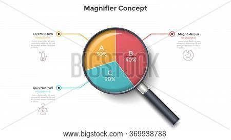 Magnifying Glass With Round Pie Chart Divided Into 3 Colorful Sectors. Concept Of Three Parts Of Bus