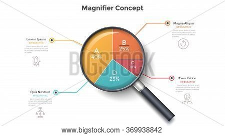 Magnifying Glass With Round Pie Chart Divided Into 4 Colorful Sectors. Concept Of Four Parts Of Busi