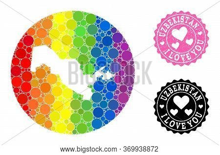 Vector Mosaic Lgbt Map Of Uzbekistan With Round Spots, And Love Grunge Seal. Subtraction Round Map O