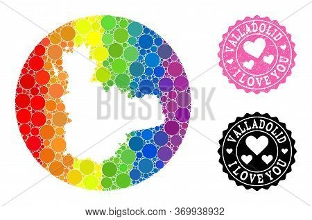 Vector Mosaic Lgbt Map Of Valladolid Province From Circle Elements, And Love Grunge Stamp. Hole Circ