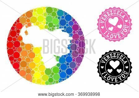 Vector Mosaic Lgbt Map Of Venezuela From Round Dots, And Love Rubber Seal Stamp. Stencil Round Map O
