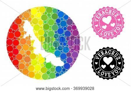Vector Mosaic Lgbt Map Of Veracruz State With Round Dots, And Love Rubber Seal Stamp. Hole Round Map