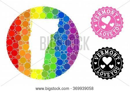 Vector Mosaic Lgbt Map Of Vermont State With Round Blots, And Love Scratched Stamp. Hole Round Map O