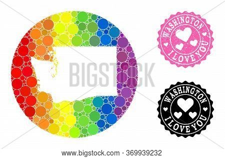 Vector Mosaic Lgbt Map Of Washington State With Circle Spots, And Love Grunge Seal Stamp. Hole Circl