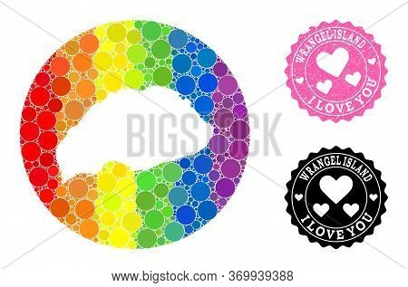Vector Mosaic Lgbt Map Of Wrangel Island With Circle Items, And Love Grunge Seal Stamp. Subtraction