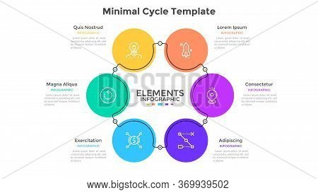 Round Diagram With 6 Colorful Circular Elements. Concept Of Six Steps Of Business Cycle. Flat Infogr