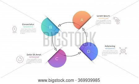 Cyclic Graph With 4 Circular Gradient Colored Elements And Paper Slits Connected By Arrows. Concept