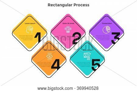 Process Graph With 5 Square Elements With Figures. Concept Of Five Successive Steps Of Startup Devel