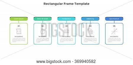 Modern Horizontal Diagram With 5 Rectangular Frames Or Cards. Concept Of Five Features Of Business P