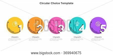 Process Chart With 5 Colorful Circular Elements With Figures. Concept Of Five Successive Stages Of B