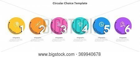 Process Chart With 6 Colorful Circular Elements With Figures. Concept Of Six Successive Stages Of Bu