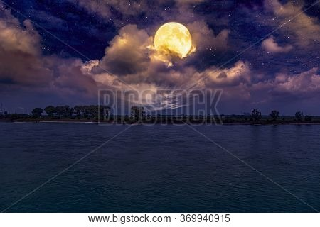 Full Moon In Cloud Sky, Background Of Calm And Pacification