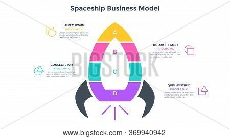 Spaceship Business Model Divided Into 4 Colorful Parts Or Levels. Concept Of Four Stages Of Startup