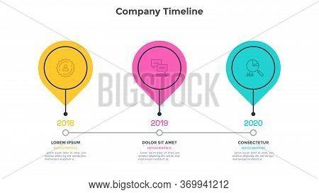 Horizontal Timeline With 3 Round Elements. Concept Of Three Milestones Of Company Development Histor