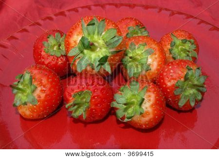 Strawberries On Red Plate