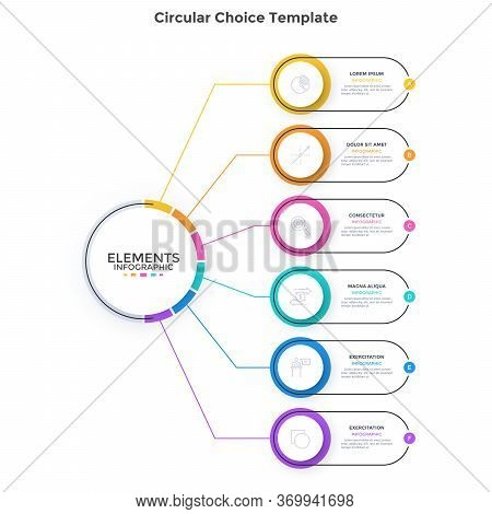 Scheme With 6 Colorful Round Elements Connected To Main Circle. Concept Of Six Business Options To C