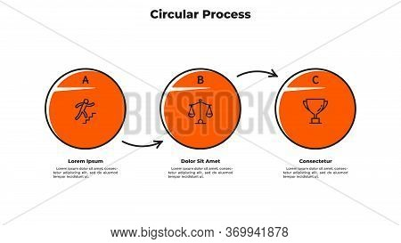 Flowchart With 3 Circular Elements Connected By Arrows. Concept Of Three Successive Steps Of Busines