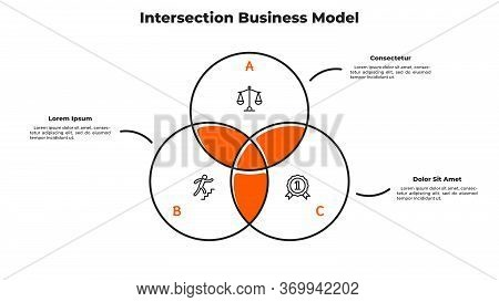 Venn Diagram With 3 Intersected Circular Elements. Concept Of Intersection Business Model With Three