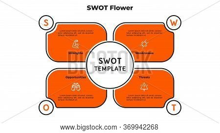 Swot Flower Diagram With 4 Petals. Concept Of Advantages And Disadvantages Of Company. Flat Infograp