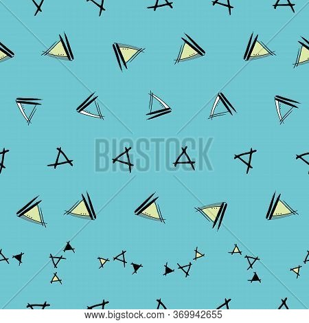 Rows Of Childlike Triangles With Blue Background Hand Drawn Vector Seamless Repeat Pattern With Ink